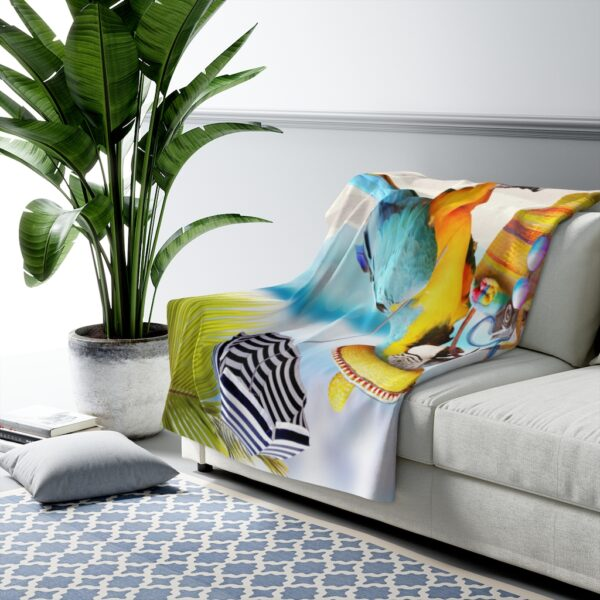 a day at the beach sherpa fleece blanket