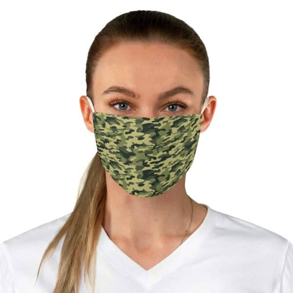 green camo fabric face mask - one size