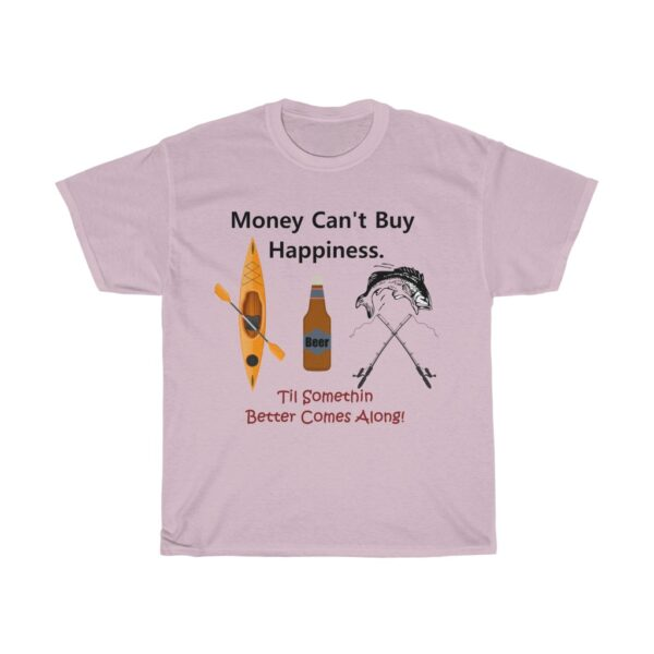 money can't buy happiness - unisex heavy cotton kayaking t-shirt - xl, light pink