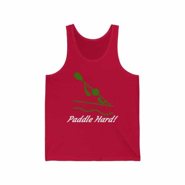 paddle hard - green unisex jersey tank top - dark colors - red, 2xl