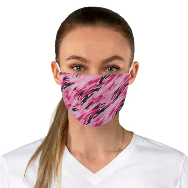 pink camo fabric face mask - one size