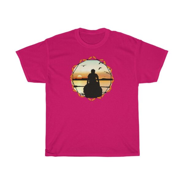 the river at dawn - kayaking unisex heavy cotton fishing t-shirt - 2xl, heliconia