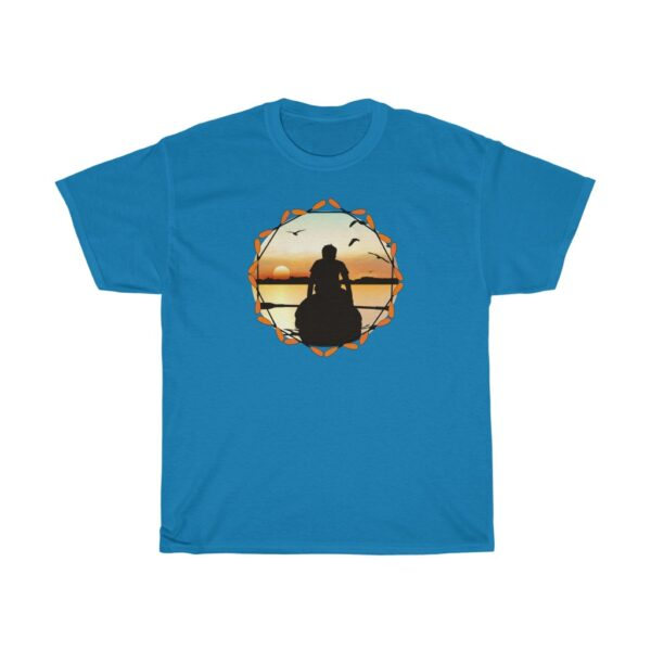 the river at dawn - kayaking unisex heavy cotton fishing t-shirt - l, sapphire