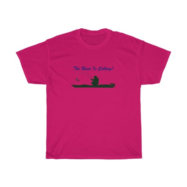 the river is calling - kayak fishing t-shirt - unisex heavy cotton tee - 2xl, heliconia