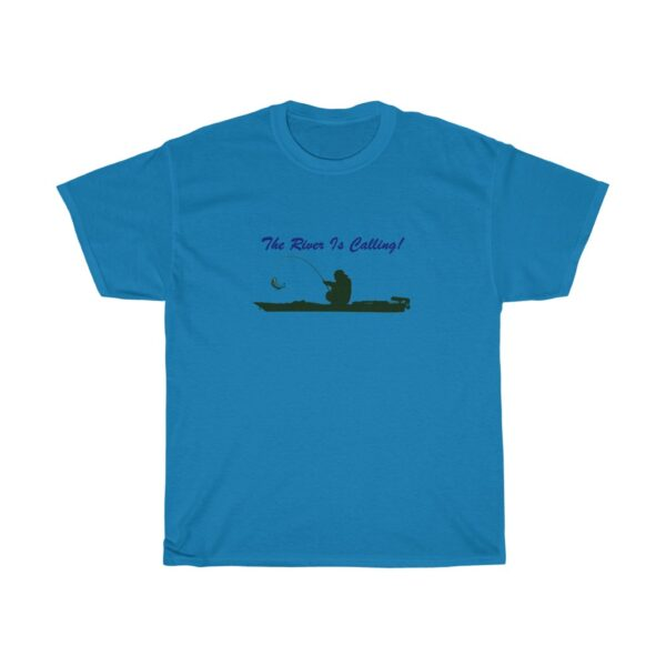 the river is calling - kayak fishing t-shirt - unisex heavy cotton tee - l, sapphire