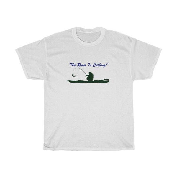 the river is calling - kayak fishing t-shirt - unisex heavy cotton tee - xl, white